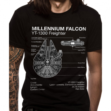 T-paita Star Wars - Falcon blueprint