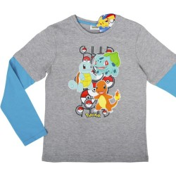 Lasten pitkähihainen t-paita Pokemon harmaa